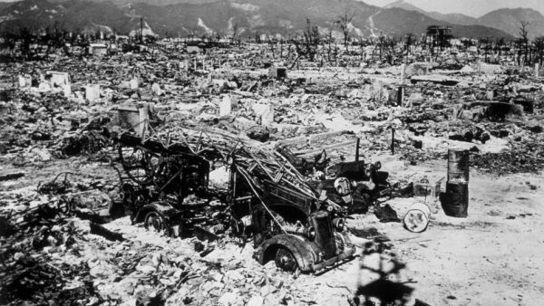 Nagasaki, after the Fat Boy atom bomb was dropped on 9 August 1945