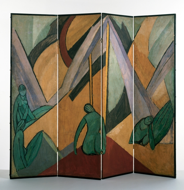 Tents and Figures (1913) by Vanessa Bell. A painted folding screen. Victoria & Albert Museum. © The Estate of Vanessa Bell, courtesy of Henrietta Garnett. Photo credit: © Victoria and Albert Museum, London