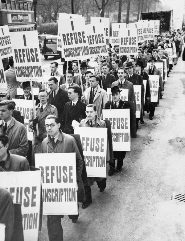 A march of 2,000 anti-conscription protesters in London, 1939 © IWM