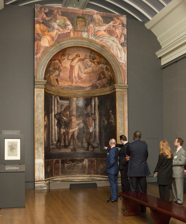 The exhibition's digital recreation of the alcove at the Borgherini Chapel in the church of An Pietro in Montorio in Rome, featuring designs by Michelangelo but painted by Sebastiano del Piombo