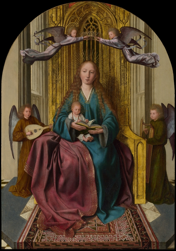 The Virgin and Child Enthroned, with Four Angels (1495) by Quinten Massys