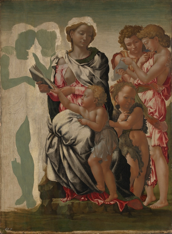 The Virgin and Child with Saint John and Angels ('The Manchester Madonna') by Michelangelo (about 1497) © The National Gallery, London