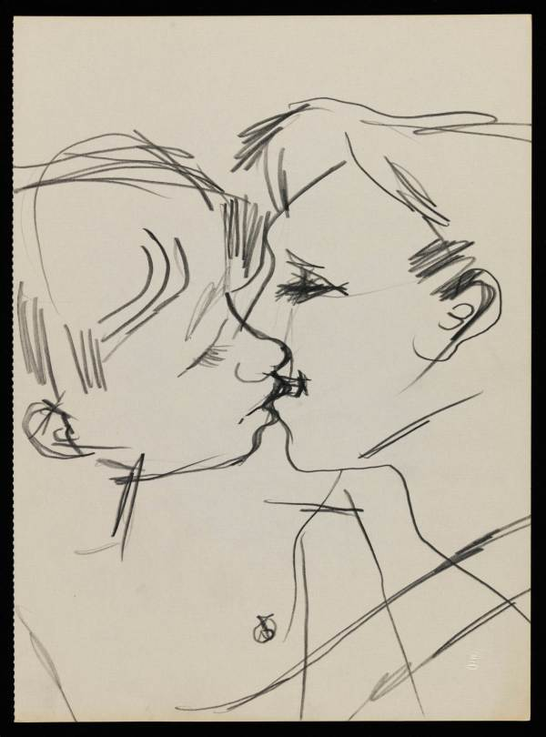 Drawing of two men kissing (1958–73) by Keith Vaughan © DACS, The Estate of Keith Vaughan