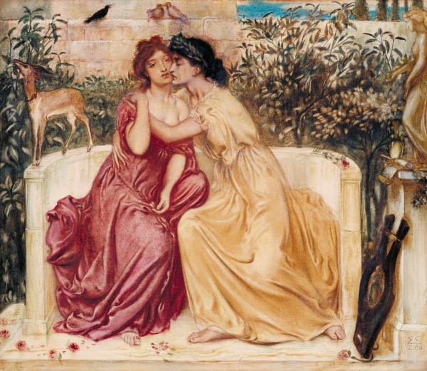 Sappho and Erinna in a Garden at Mytilene (1864) by Simeon Solomon (Watercolour) Tate