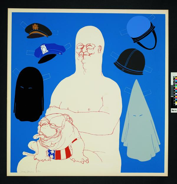 Big Daddy with Hats (1971) Colour screenprint by May Stevens © May Stevens. Reproduced by permission of the artist and Mary Ryan Gallery, New York