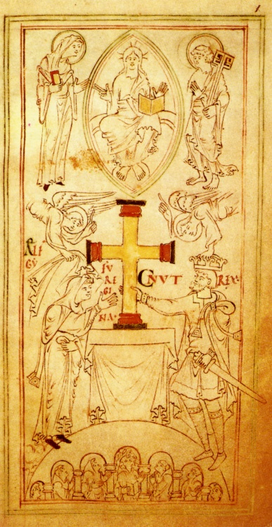 Queen Emma and King Cnut present a gold cross to the New Minster, Winchester (from the New Minster Liber Vitae)