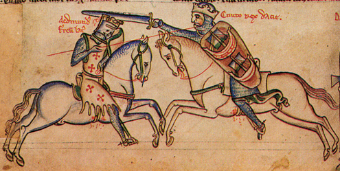 The combat of Edmund Ironside (left) and Cnut the Dane (right) as depicted by the medieval author Matthew Paris