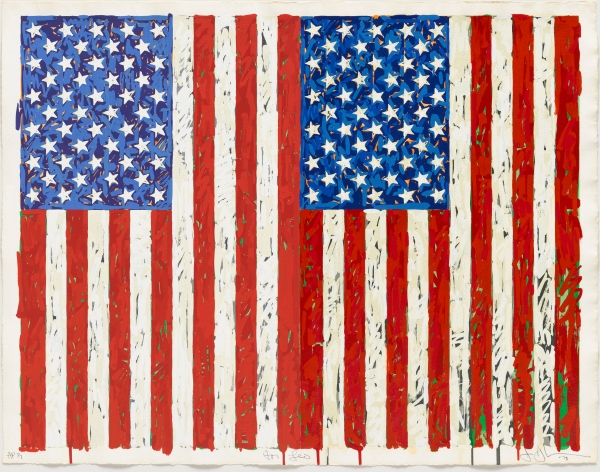 Flags I. Colour screenprint (1973) by Jasper Johns. Gift of Johanna and Leslie Garfield, on loan from the American Friends of the British Museum. © Jasper Johns/VAGA, New York/DACS, London 2016. © Tom Powel Imaging