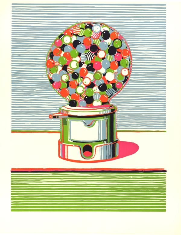 Gumball Machine, colour linocut (1970) by Wayne Thiebaud © Wayne Thiebaud/DACS, London/VAGA, New York 2016