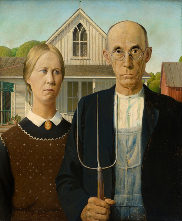 American Gothic (1930) by Grant Wood. The Art Institute of Chicago, friends of American Art Collection