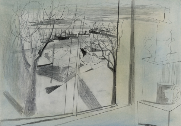Newlyn (11 April 1950) by Ben Nicholson. Graphite with watercolour © Angela Verren Taunt