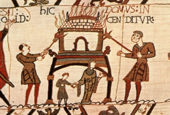 Hic domus incenditur (Here a house is burned, from the Bayeux Tapestry describing the Norman Conquest 1066
