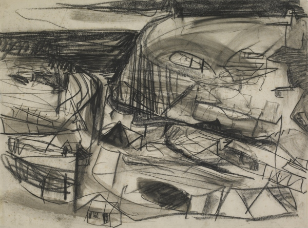 Portreath (1949) by Peter Lanyon. Black chalk with grey wash © The estate of Peter Lanyon