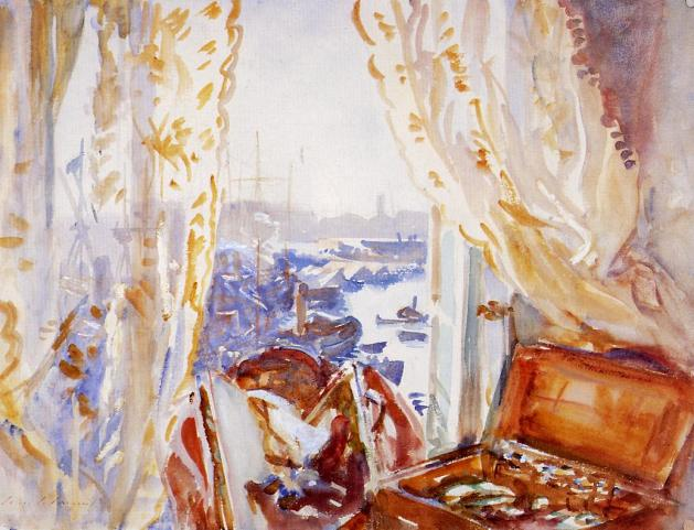 View from a Window, Genoa (c.1911) by John Singer Sargent. Watercolour and oil over graphite © The Trustees of the British Museum