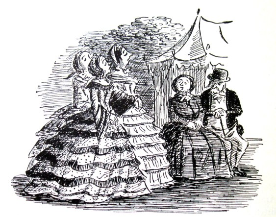 The Lookalofts and the Greenacres - Edward Ardizzone illustration from Barchester Towers (1953)