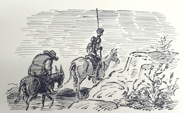 'Sancho followed dolefully after his master' - Edward Ardizzone illustration of Don Quixote © The Estate of Edward Ardizzone