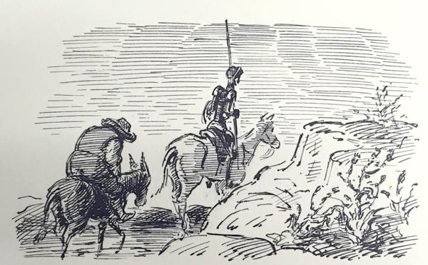 'Sancho followed dolefully after his master' - Edward Ardizzone illustration of Don Quixote © The Estate of Edward Ardizzone