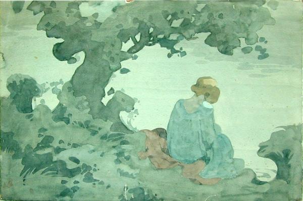 Girl on a riverbank by William Heath Robinson