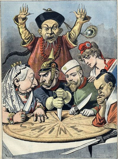 'China - the cake of kings and emperors' French political cartoon by Henri Meyer (1898)