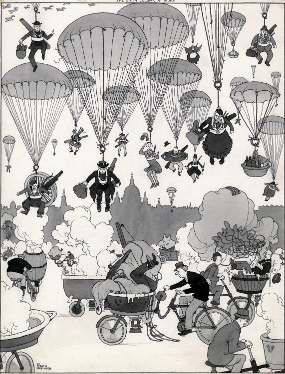 A warm welcome for every parachutist by William Heath Robinson
