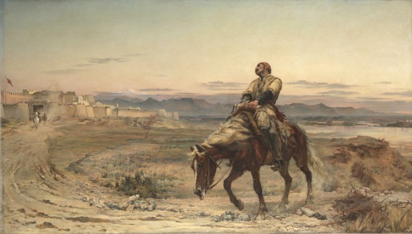 The Remnants of an Army (1879) by Elizabeth Butler, depicting the arrival of William Brydon, sole survivor the disastrous retreat from Kabul in January 1842