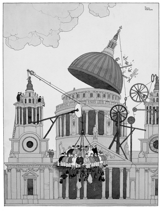 'Stout members of the sixth column dislodge an enemy machine gun post on the dome of St Paul's' by William Heath Robinson