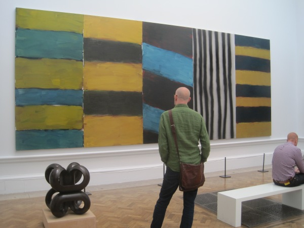 View of Room II showing Volute IV by Paul de Monchaux (£36,000) and Full House by Sean Scully (NFS)