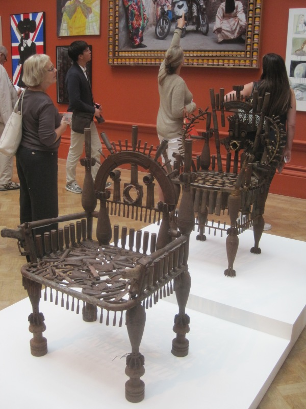 Untitled thrones by Gonçalo Mabunda (£14,400 and £15,000)