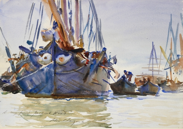 Italian sailing Vessels at Anchor (c. 1904-07) by John Singer Sargent © Ashmolean Museum, University of Oxford