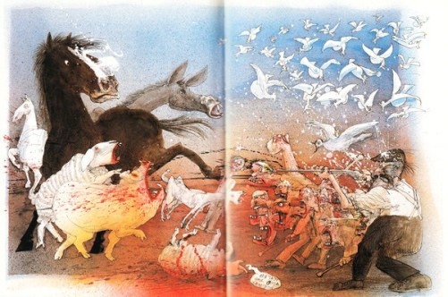 The animals rise up against Farmer Jones - illustration by Ralph Steadman