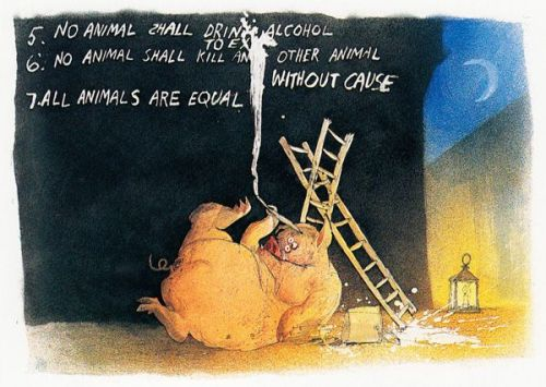 A drunk pig rewrites the rules of the revolution - ilustration by Ralph Steadman