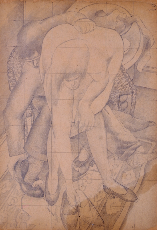Fetching Shoes, sketch by Stanley Spencer