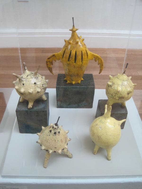 Launch of yellow skyrocket and sputniks by Morag MacInnes. Clay. (£600)