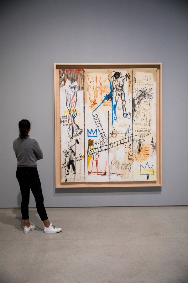 Leonardo da Vinci's Greatest Hits (1982) by Jean-Michel Basquiat. Photo © Tristan Fewings/Getty Images Artwork. Collection of Jonathan Schorr © The Estate of Jean-Michel Basquiat. Licensed by Artestar, New York