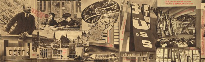 Photomontage from the Union of Soviet Socialist Republics: Catalogue of the Soviet Pavilion at the International Press Exhibition, Cologne 1928 by El Lissitzky and Sergei Senkin (The David King Collection at Tate)
