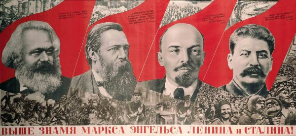 Raise Higher the Banner of Marx, Engels, Lenin and Stalin! (1933) by Gustav Klutsis. The David King Collection at Tate