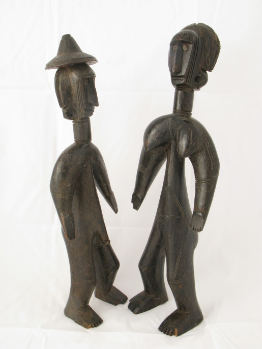 Jomooniw male and female figures, Bamana region, Mali, 19th-early 20th century. Private collection. Photograph by Robert Monnier