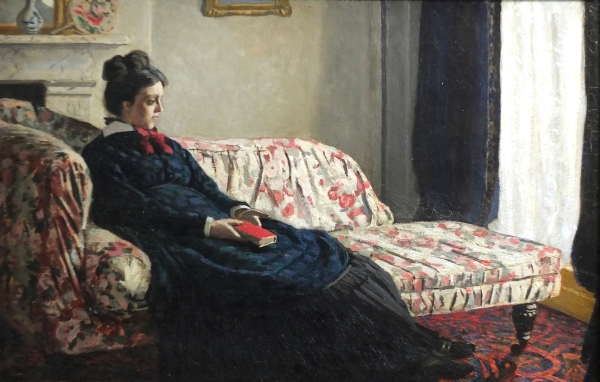 Meditation, Madame Monet Sitting on a Sofa (1870 - 1871) Claude Monet