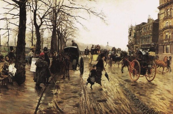 Piccadilly: Wintry Walk in London (1875) by Giuseppe De Nittis