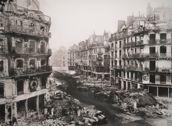 The Rue de Rivoli in Paris after the suppression of the Commune in May 1871