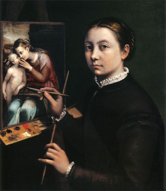 Self-portrait at the Easel Painting a Devotional Panel (1556) by Sofonisba Anguissola