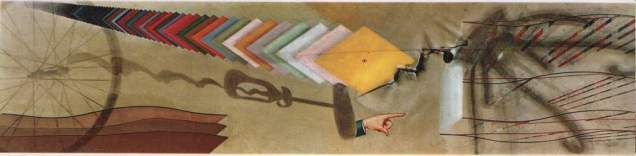 Tu m' (1918) Duchamp's last work, painted as a commission to go above shelving in a New York apartment
