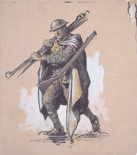 A Tommy wearing rain cape and carrying picket posts, 1917 by Second Lieutenant Richard Tennant Cooper, 1918 © National Army Museum