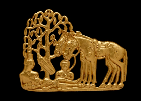 A gold belt plaque of a Scythian funerary scene (4th–3rd century BC) © The State Hermitage Museum, St Petersburg. Photo: V Terebenin.
