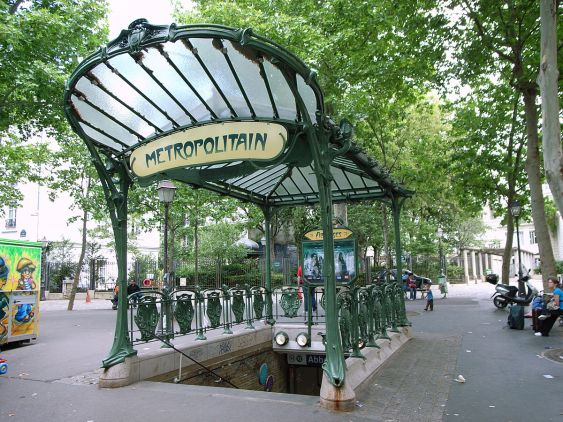 Hector Guimard's Art Nouveau entrance to the Abbesses station of the Paris Métro