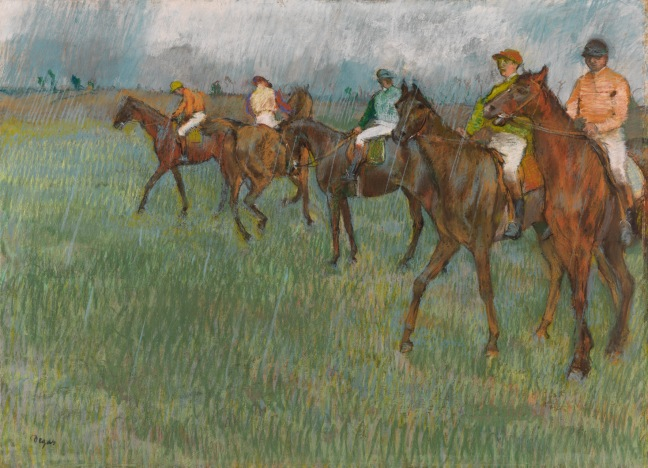Jockeys in the Rain (1883-6) by Hilaire-Germain-Edgar Degas. Pastel on tracing paper © CSG CIC Glasgow Museums Collection