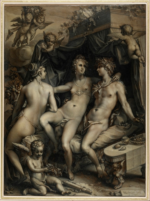Without Ceres and Bacchus, Venus Would Freeze (1599) by Hendrik Goltzius © The Trustees of The British Museum