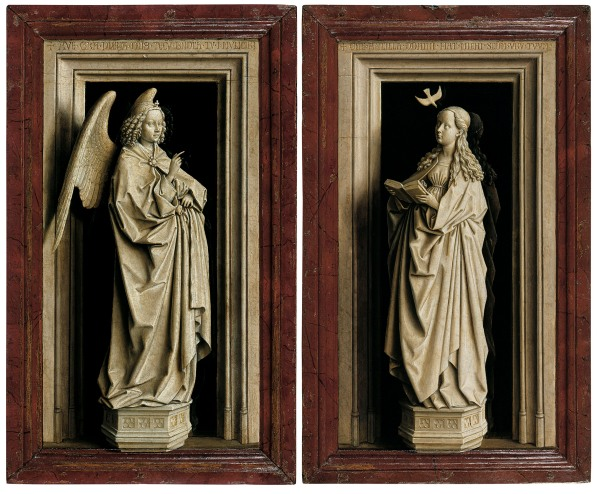 The Annunciation Diptych (The Archangel Gabriel; The Virgin Mary), about 1433–5 by Jan van Eyck © Museo Thyssen-Bornemisza, Madrid