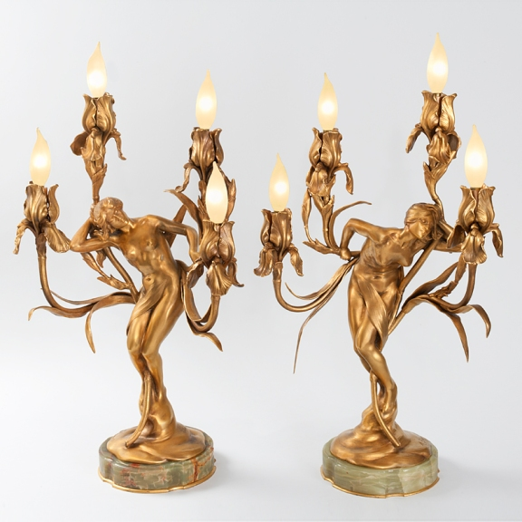 Obsession and Dream, gilt bronze candelabra by Maurice Bouval (1898)