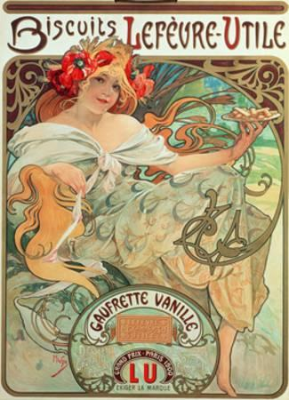 Poster Advertising 'Lefevre-Utile' Biscuits by Alphonse Mucha (1896)